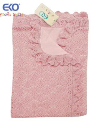 Плед ажурный вязаный розовый на трикотажной подшивке Ola