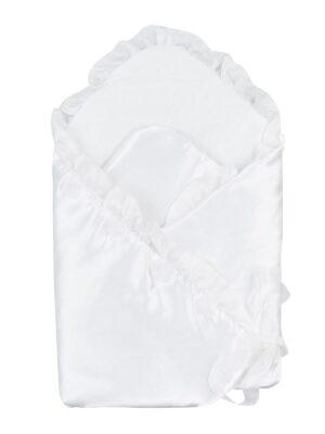 Конверт для новорожденного атласный белый с розочками