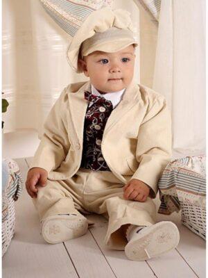 Вельветовый костюм бежевого цвета для мальчика