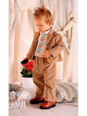 Ошатний костюм для хлопчика вельветовий бежевий