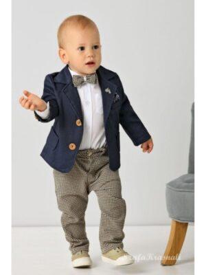 Костюм для хлопчика ошатний в стилі casual синій з беж