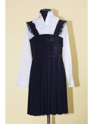 Сарафан для дівчинки темно-синій шкільний з мереживом Irena