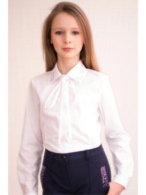 Школьная блуза хлопковая белая для девочки