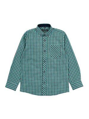 Рубашка для мальчика в мелкую зелено-коричневую клетку