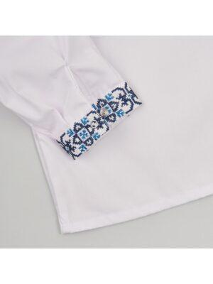 Вышиванка для мальчика с сине бирюзовой вышивкой Васылько-1