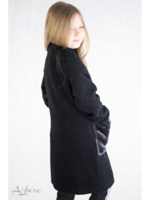 Пальто черное осеннее с меховыми карманами