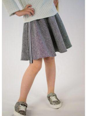 Спідниця для дівчинки твідова з декоративними фестонами сіра