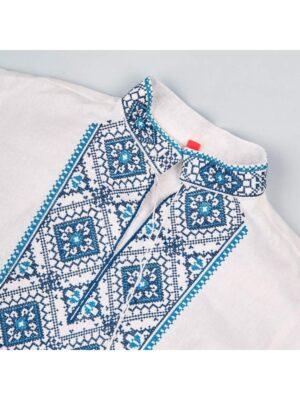 Вышиванка для мальчика в голубую вышивку Устимко