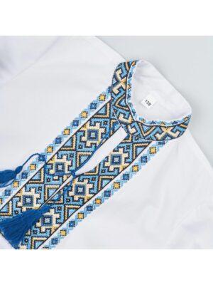 Вышиванка в желто голубую вышивку для мальчика Травень