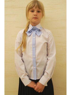 Школьная блуза для девочки белая с голубой отделкой с бантом 045 Ewa-line