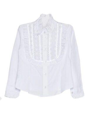 Школьная блуза для школы белая с нарядной вставкой Adela