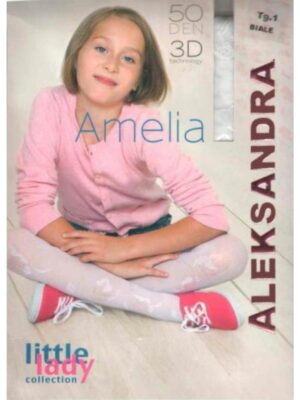 Колготы для девочки капроновые белого цвета Amelia
