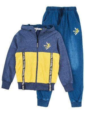 Спортивний костюм для хлопчика синьо жовтий меланж трикотажний