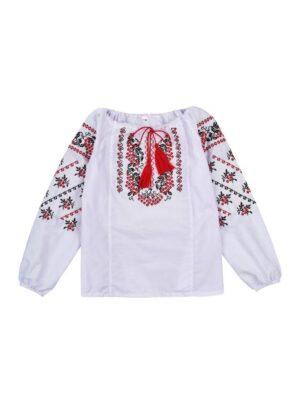 Вишиванка для дівчинки біла в Червону вишивку Калина