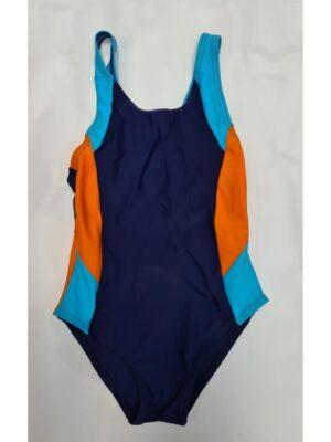 Купальник сдельный спортивный синий с оранжево голубой вставкой Otylia