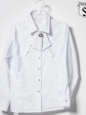 Блуза Біла Шкільна для дівчинки з красивим краваткою пристебнутим