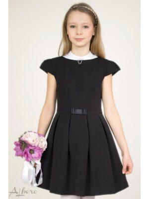 Сукня для дівчинки чорна з вирізом човник і рукавами крильцями