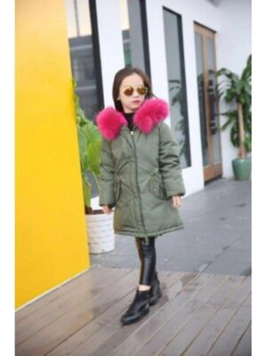 Пухове пальто для дівчинки зелене з рожевим коміром