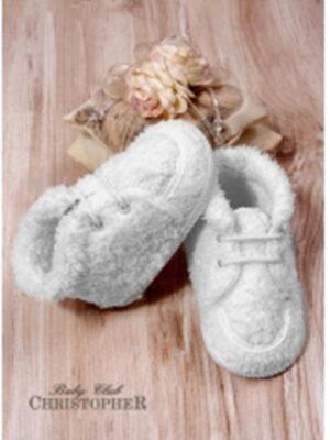 Пинетки-кроссовки меховые белого цвета