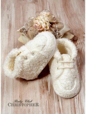 Пинетки для малыша молочного цвета на меху