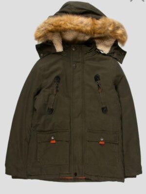 Зимова куртка-парка для хлопчика кольору хакі