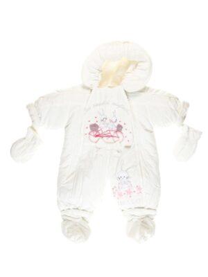 Комбінезон для новонароджених на овчині 2 в 1 молочний Hello
