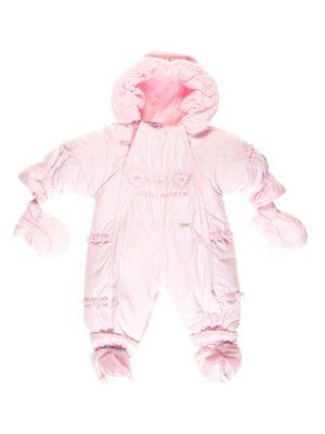 Комбінезон для новонародженої трансформер на овчині 2 в 1 Світло рожевий Serduszka