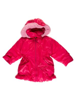 Курточка-пальто для дівчинки під гумку однотонне кольору баклажан POLA