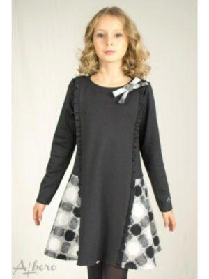 Сукня-сарафан Теплий Чорний в біло-сіру обробку