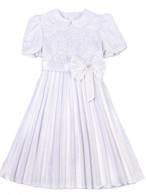 Платье для девочки нарядное белое с юбкой плиссе Marcelina Ewe-line