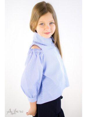 Сорочка для дівчинки в смужку з відкритими плечима