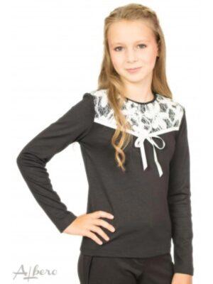 Джемпер для девочки с контрастной кружевной кокеткой