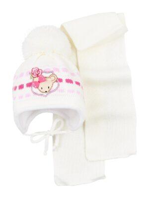 Комплект Зимовий для дівчинки білий з нашивкою мишки