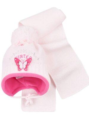 Комплект Зимовий для дівчинки малятка світло рожева