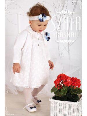 Сукня біла з болеро для дівчинки шиття з блакитною брошкою