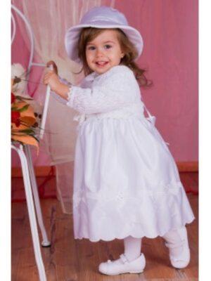 Платье белого цвета с болеро и шляпой