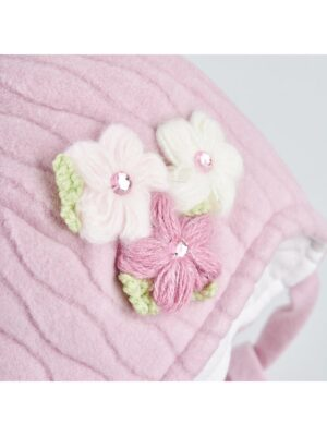 Зимняя шапка для девочки флисовая розовая с цветком