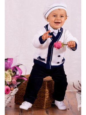 Ошатний костюм для хлопчика з білим в'язаним жакетом
