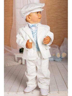 Вельветовий костюм білого кольору для хлопчика