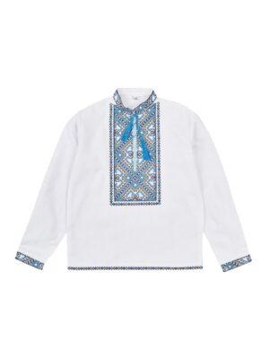 Вишиванка белая домотканная ткань для мальчика Арт. Коломыйко-1
