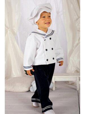 Костюм для хлопчика велюровий синьо білий морячок