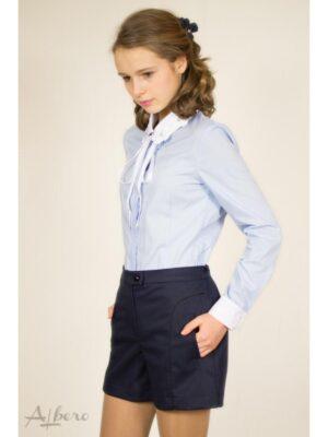 Блуза для девочки голубая с белым воротничком