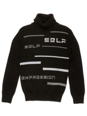Свитер для мальчика под горло черного цвета с надписями SELF
