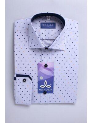 Рубашка для мальчика светлая в кубики с кантом синим Арт.175-58 Велма