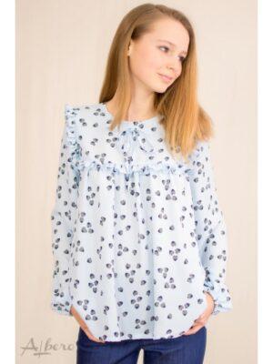 Блуза для девочки голубая шифоновая в сердечки