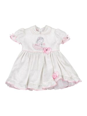 Платье для девочки белое с розовой отделкой Galinezka
