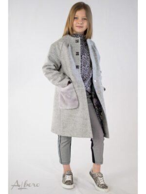 Пальто сіре Осіннє з хутряними кишенями