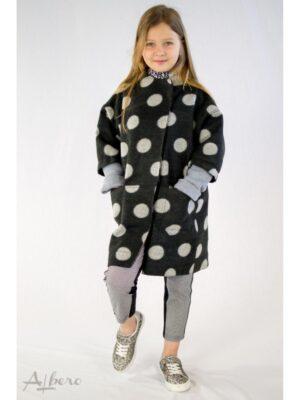 Пальто чорне осінньо в горохи для дівчинки