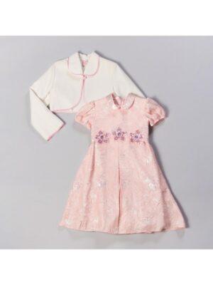 Сукня для дівчинки персикового кольору з паєтками Tamara