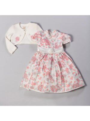 Платье с болеро для девочки в коралловых цветах Gabrysia